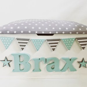 mint green grey star personalised toy box
