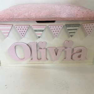 pink crushed velvet toy box