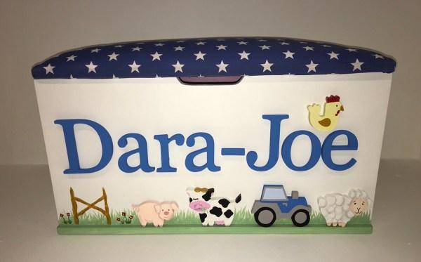 farm animal blue tractor toy box