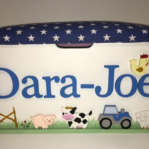 farm animal blue tractor toy box