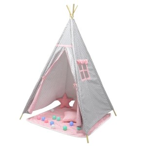 grey and pink spotty teepee