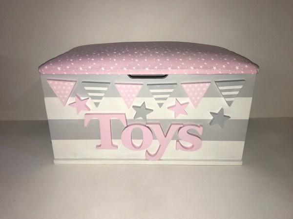 grey white stripe star toy box