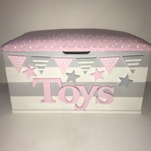 grey white stripe star toy box