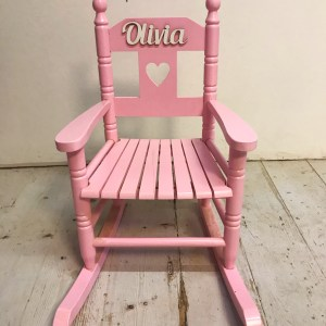 pink personalised wooden rocking chair