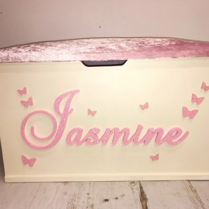 pink glitter personalised butterfly toy box