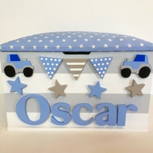 pastel blue tractor toy box