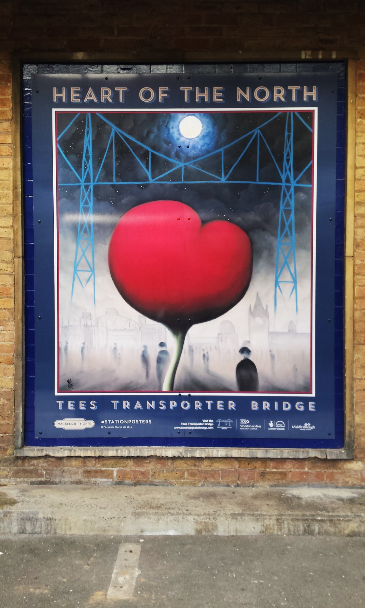 Modern Railway Poster titled 'Heart of the North' by Mackenzie Thorpe which is on Display at Middlesbrough Railway Station