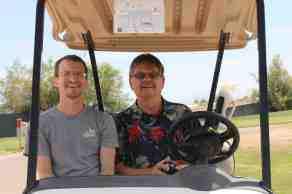 Intrepid trashbloggers are not intimidated by anything, not even driving rickety old golf carts over 90 degree angle hills, while I steer..