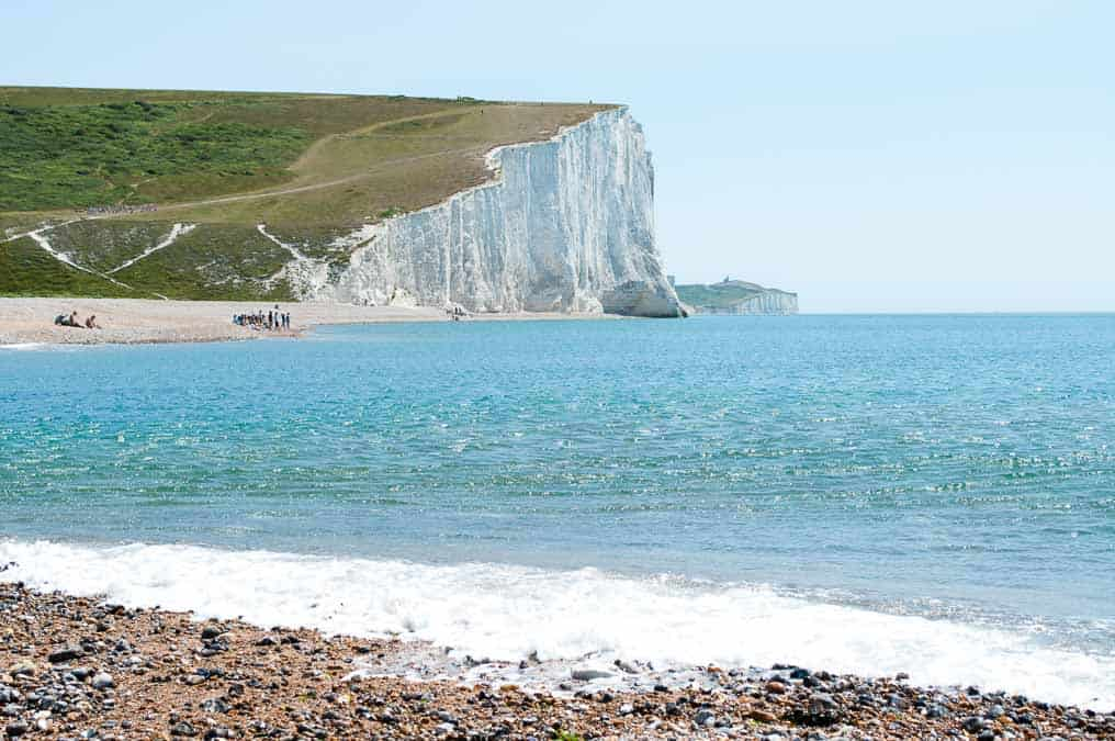 Beach at Cuckmere Haven with Seven Sisters Cliffs in the background