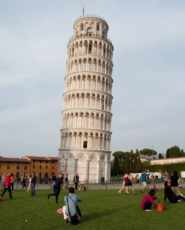 Tourists posing at The Leaning Tower of Pisa