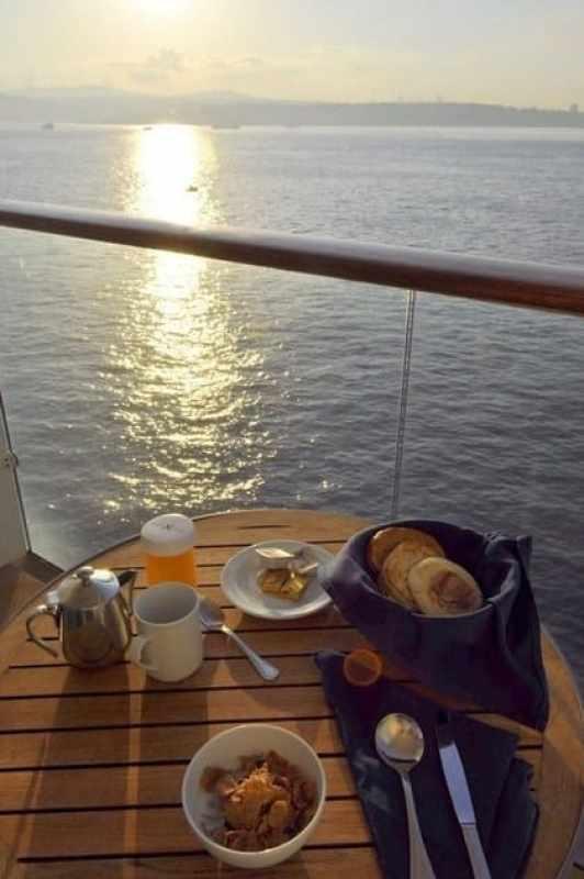 Breakfast on my balcony overlooking the Bosphorus