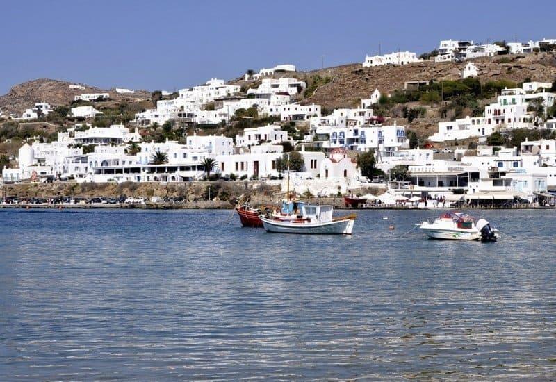 Boats in the Bay in Mykonos Town