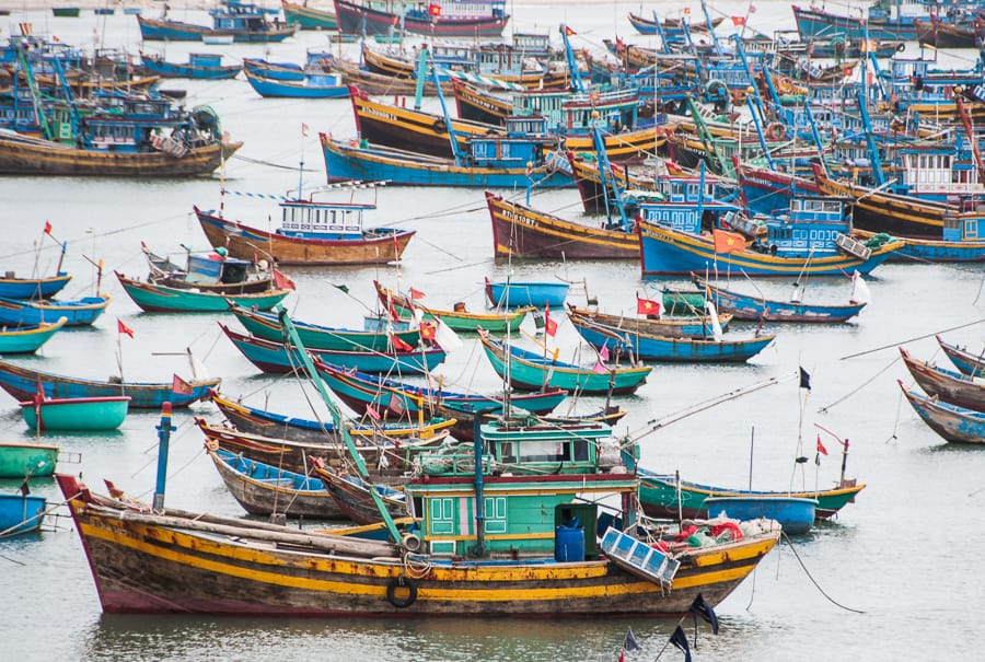 Blue and green fishing boats, Vietnam