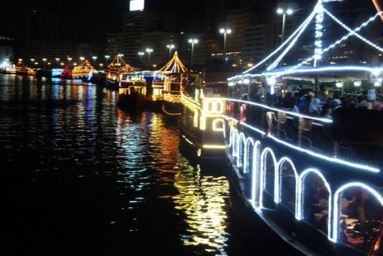 Dhows at night