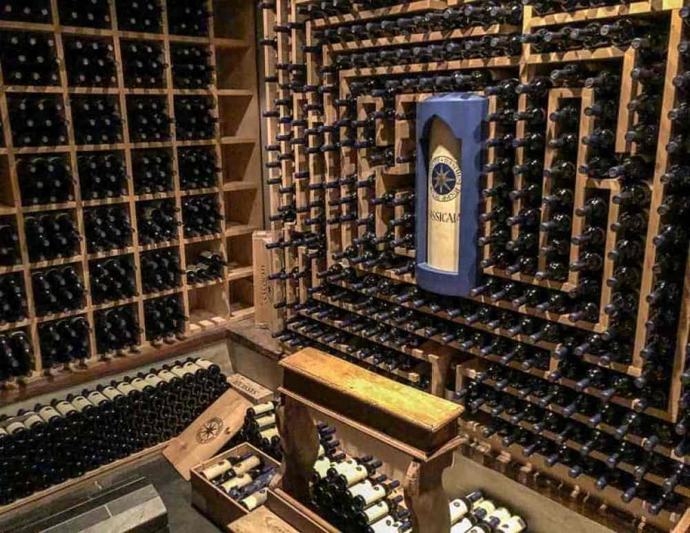 Mahatma Wine Cellar with Sassicaia wine at La Perla, Corvara