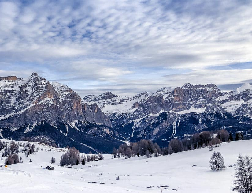 Dolomite mountains in winter