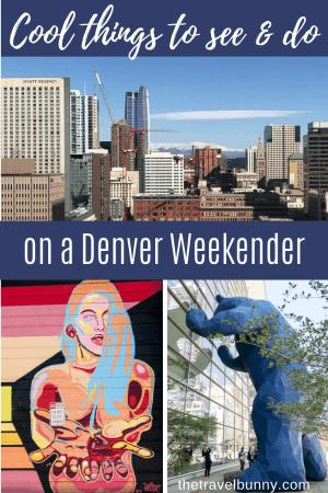 Denver photo montage - blue bear, cityscape, street art