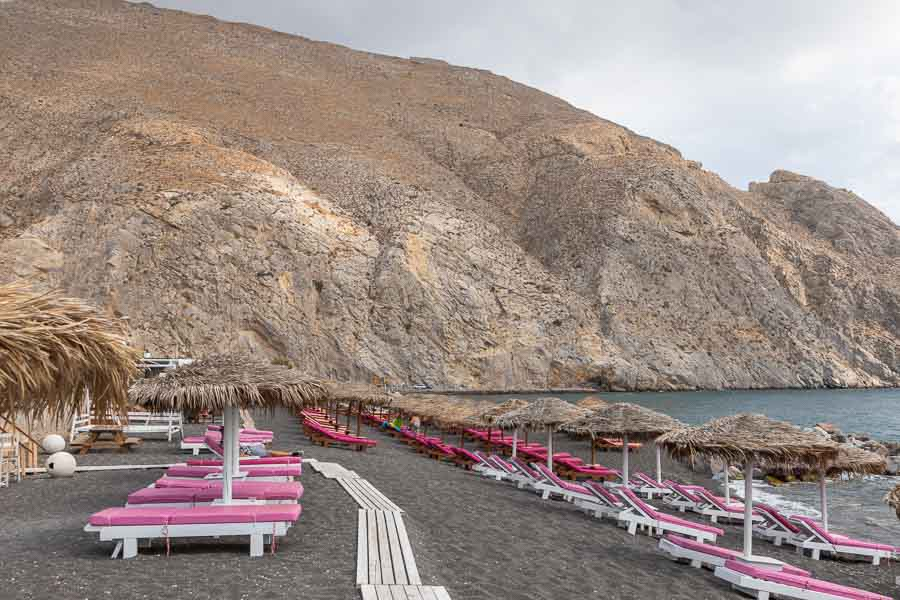 Perissa beach on the Greek island of Santorini, Greece.