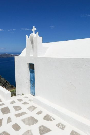 Santorini Church by Caldera, Greece