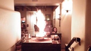 Sparks fly at La Hacienda when making the 1921 drink.