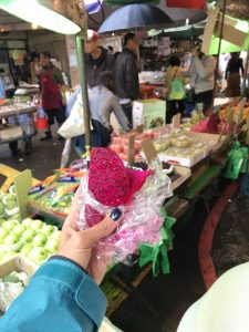 Dragon fruit at Taipei food market