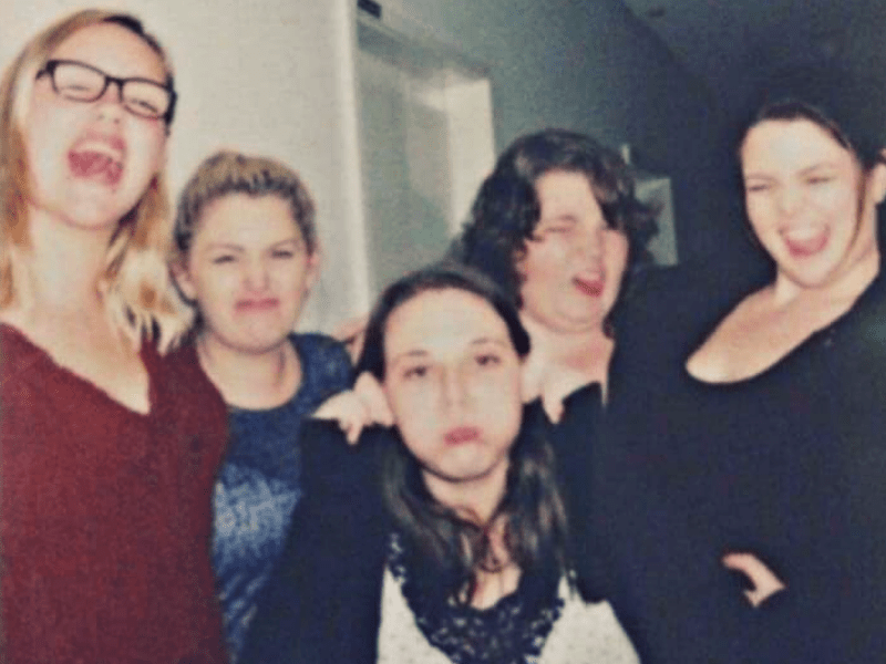 picture of 5 girls pulling silly faces. Myself and my housemates on my last day before leaving my study abroad