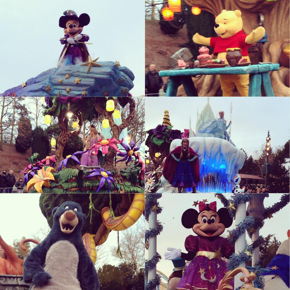 8 Reasons why Disney is not just for kids. Several Disney Parade Floats including Minnie Mouse, Winnie the Pooh, Anna and Elsa from Frozen, Rapunzel from Tangled and Baloo from Jungle Book