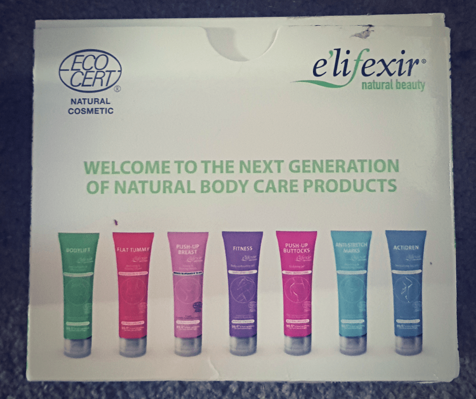 Elifexir natural beauty range box including 7 tubes in green, pink, purple and blue shades.