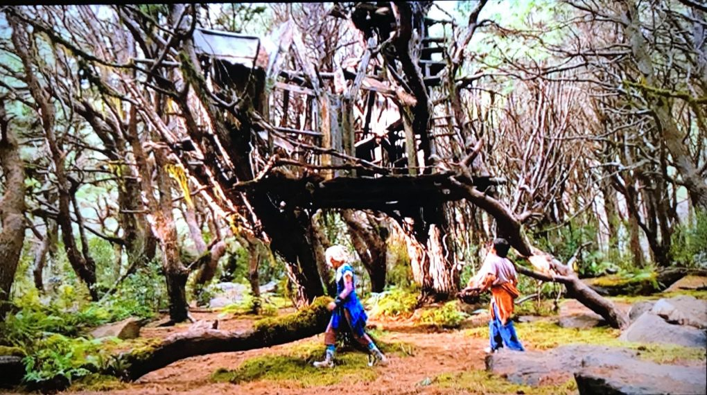 A scene from Bridge to Terabithia where a girl and guy walk in a forest in front of a large wooden treehouse