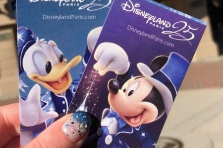 25th Anniversary Disneyland Paris park tickets. Two tickets, one blue with Donald Duck on it and one purple with Mickey Mouse on it. Both tickets say Disneyland 25