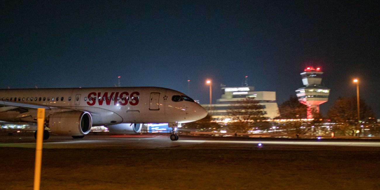 Letzter Flug Swiss Berlin Tegel nach Zürich AIrbus A220 HB-JBA
