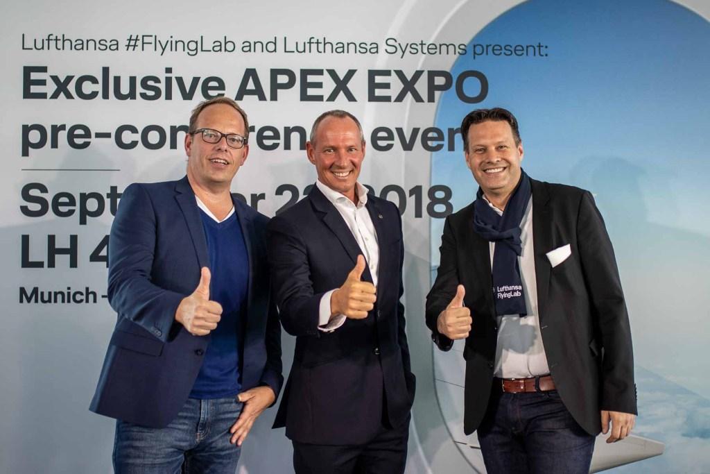 Lufthansa FlyingLab APEX Boston Lufthansa Systems CEO Olivier Krüger Jan-Peter Gaense Ansgar Luebbehusen