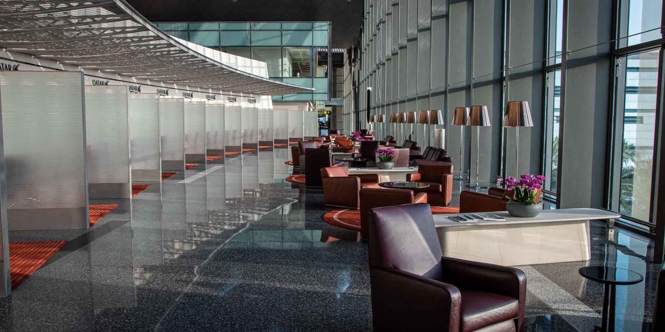 Qatar Airways A380 First Class Check-in Doha-3