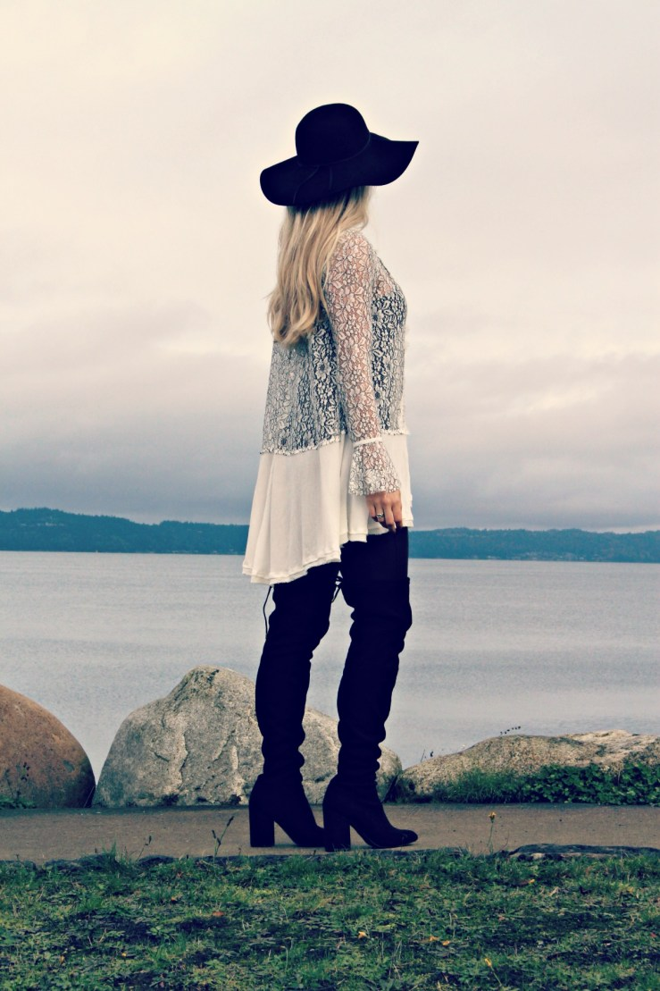 Lace tunic and OTK boots