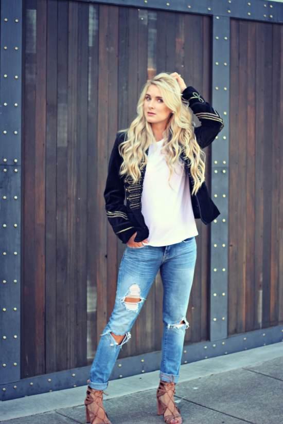 Velvet jacket and distressed denim