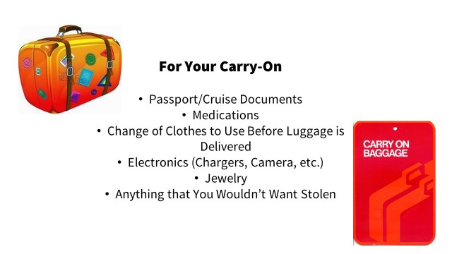Packing a carry-on bag for a cruise