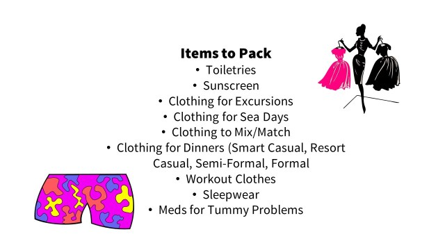 Packing list for suitcase on a cruise