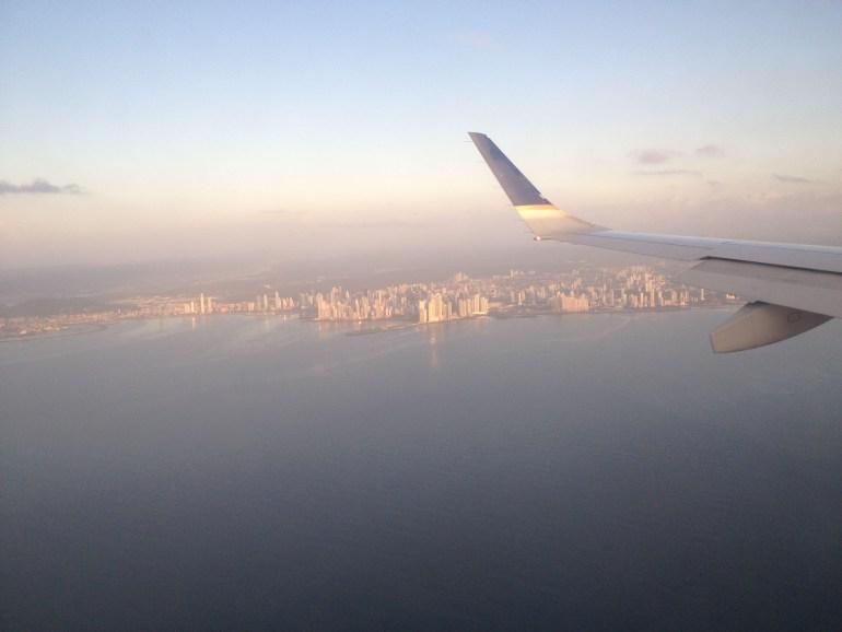 Flying towards Panama City