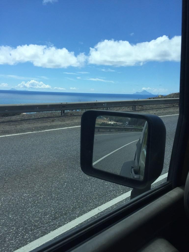 Saba and St. Eustatius on the horizon