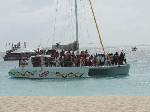 Full spectator boats (and barges) on Anguilla Day