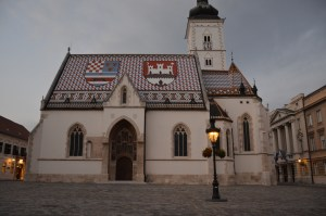 A church with a beautiful tile roof - Zagreb, Croatia