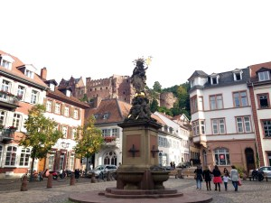 The view from Kornmarkt looking up at the castle - Heidelberg, Germany