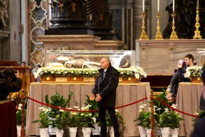 All of those people were gathered to see and pray over the relics of St. Pio - Vatican, Italy