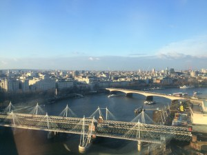Looking out over the River Thames from high atop the Eye - London, England