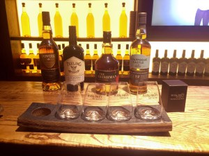 The VIP packages lets you try all of these whiskeys and gives you one of these cute glasses too - Dublin, Ireland