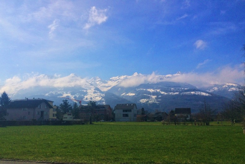 The Swiss Alps on the west side of Liechtenstein are stunningly beautiful at all times of the year - Vaduz, Liechtenstein