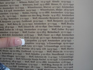My thumb is to reference how small the print is of the names - Auschwitz, Poland
