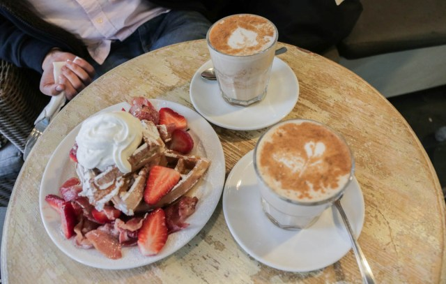 Buttermilk Vanilla Waffles with Bacon, Strawberries and Cream at Papii Cafe - Scotland Wales London Itinerary BritRail Pass