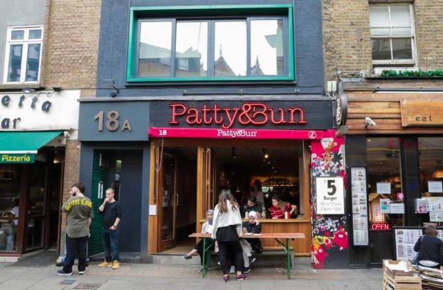 Entrance of Patty and Bun in London - Scotland Wales London Itinerary BritRail Pass