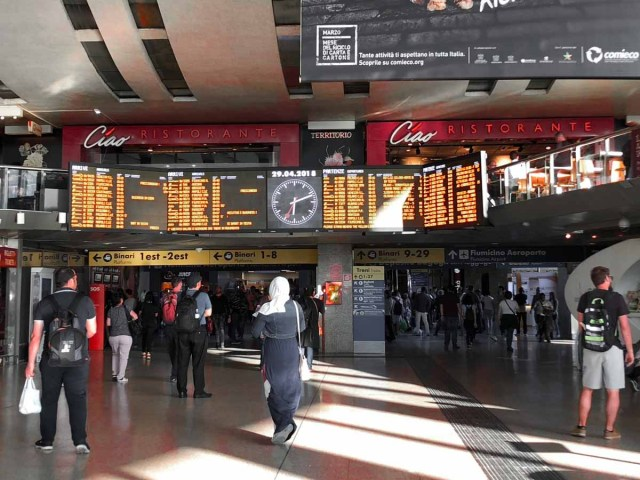 Train station in Rome - eurail pass guide